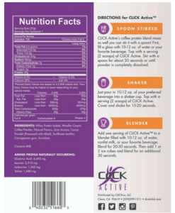 Nutrition Facts for Click Active Protein Powder Drink Mix in Mocha Flavor