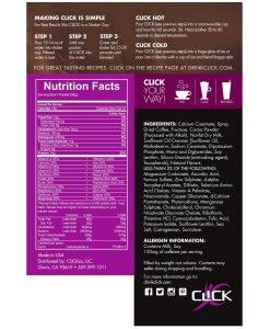 Nutrition Facts for Click Coffee Protein